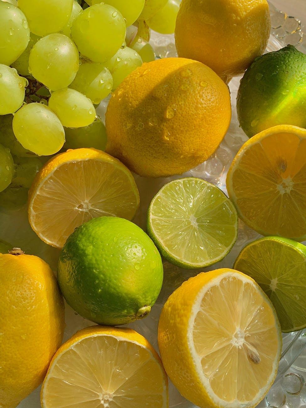 a close up shot of tropical fruits